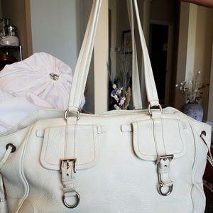 Authentic Prada Beige Leather VTG Shoulder Handbag